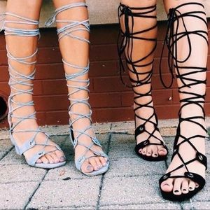 Jeffrey Campbell Bryndis Baby Blue Lace Up Sandals